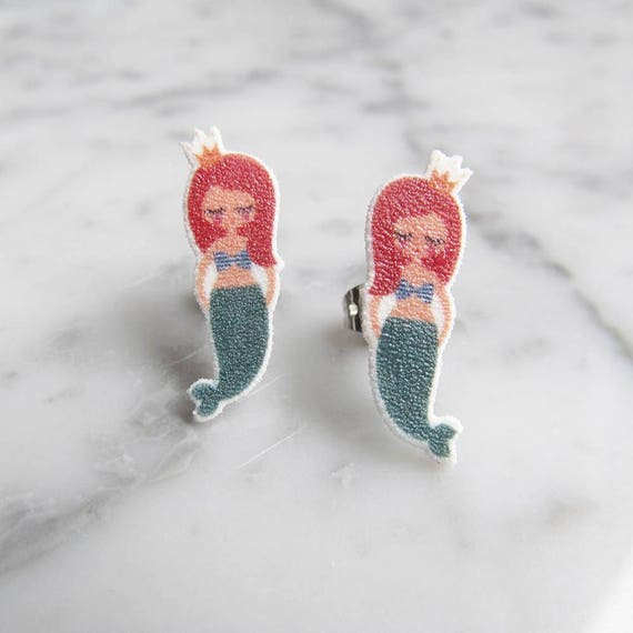 mermaid, red hair, earring, sea creature, stud earring, print on plastic, shrink plastic, stainless stud, handmade, les perles rares