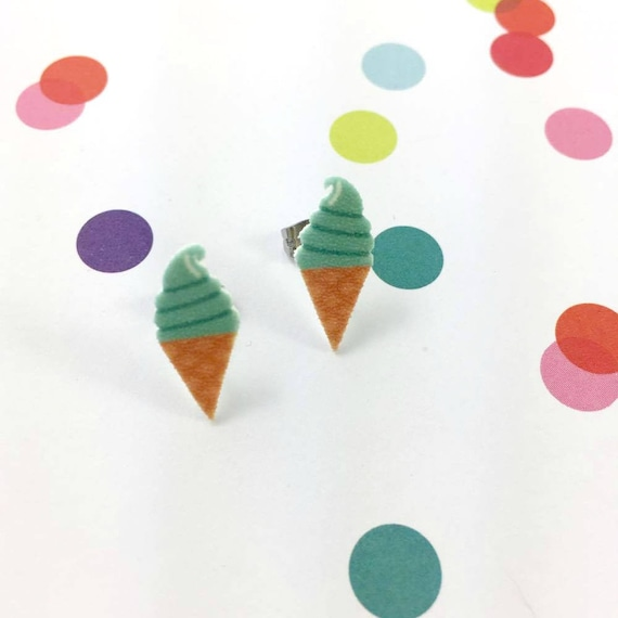turquoise, green, ice cream, soft cream, mint, stud earring, print on plastic, shrink plastic, stainless stud, handmade, les perles rares