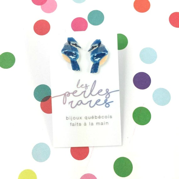 Small, blue, jays, bird, earrings, light, hypoallergenic, plastic, stainless stud, handmade, les perles rares