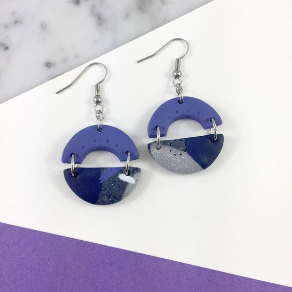 dangle earring, stainless hook, polymer clay earring, violet, blue, grey, half circle polymer, handmade dangle earring, les perles rares