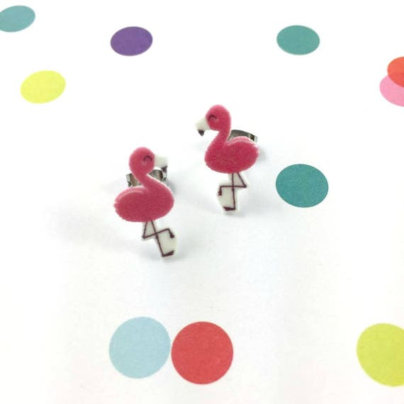 flamingo, pink flamingo, stud earring, print on plastic, shrink plastic, stainless stud, handmade, les perles rares