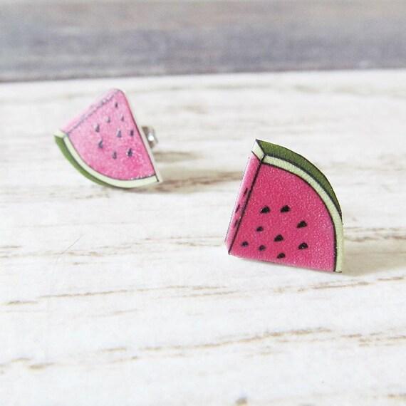 Small, earrings, shrink plastic, watermelon, pink, stainless stud, handmade, les perles rares