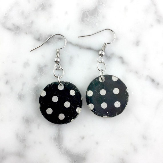 Resin earrings, color stud, pink, black and white, dots, 50s, unique, handmade, sold, earring, hypoallergenic stud