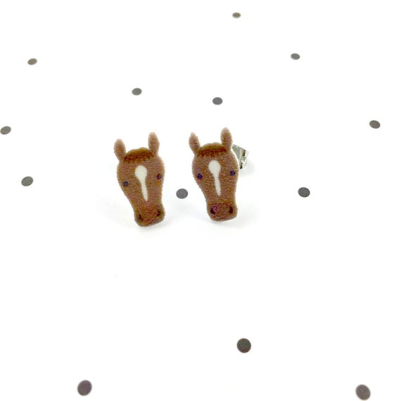 Small, brown, horse, earring, horse driving, light, hypoallergenic, plastic, stainless stud, handmade, les perles rares