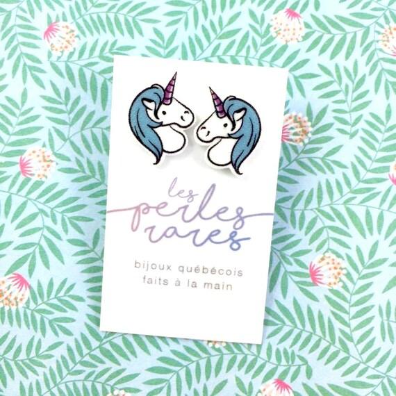 unicorn, blue mane, pink horn, blue, pink, fairy tail, print on plastic, shrink plastic earring, stainless stud, handmade, les perles rares