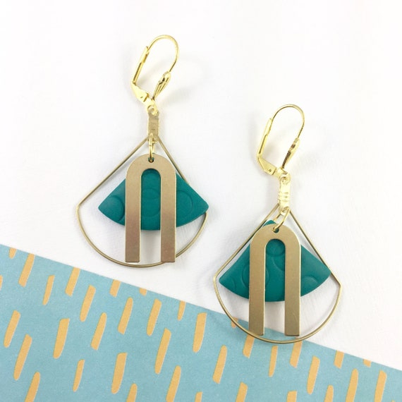 polymer geometric, gold triangle, turquoise, dangle earring, blue green, turquoise, polymer clay earring, metal triangle,  les perles rares
