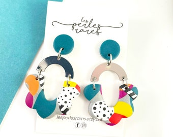 Unique polymer clay earring, half flower, turquoise blue, white, dots, colors,  earring, 3 pieces polymer, stainless, les perles rares