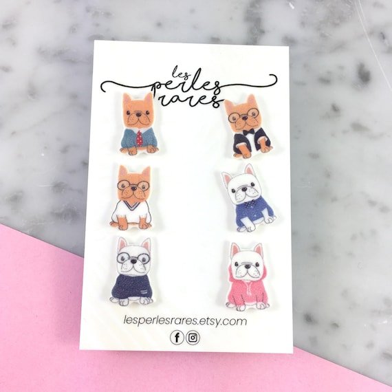 mix and match, casual dog, french bulldog, Earring kit, stud,  stainless stud, handmade, les perles rares