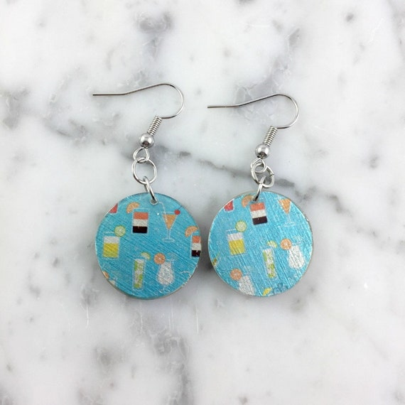 Resin earrings, pendent earring, blue, cocktail pattern, unique, handmade, sold, earring, hypoallergenic stud