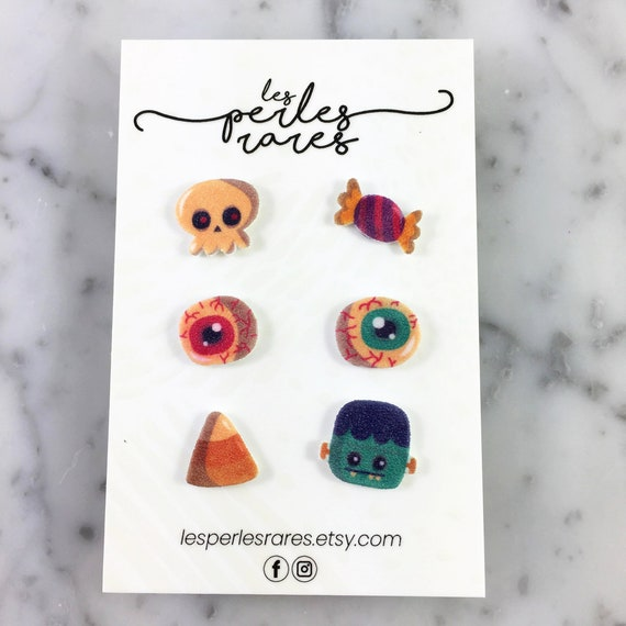 mix and match, Earring kit, Halloween, RIP, Trick or treat , candy, eye, skull, earring, stud,  stainless stud, handmade, les perles rares