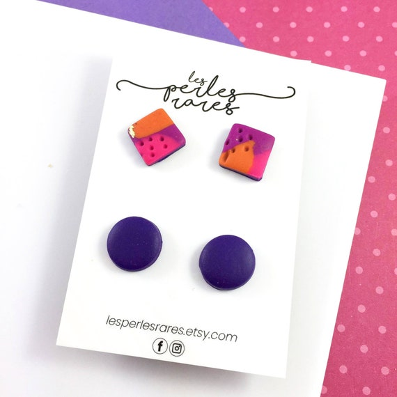 2 pairs of polymer Studs, flash, pink, purple, fuchsia color, square, stud, polymer, unique, stainless stud,  rounds, polymer clay earring
