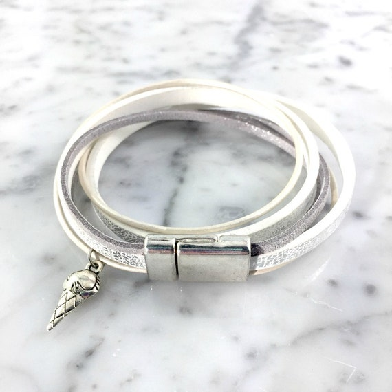 Leather, magnetic, magnet, bracelet, white, grey, silver, ice cream charm, choker necklace, magnet, les perles rares