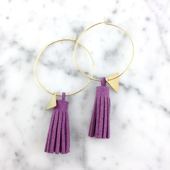 Hoop purple glands earring, ring, gold, nickel free, triangle, 3,5cm, les perles rares