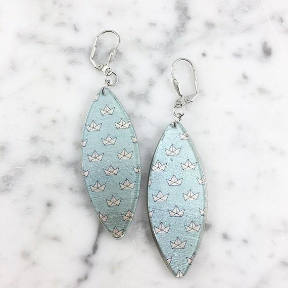Long Resin earrings handmade, blue boat, navy, earring, on stainless steel hook, les perles rares