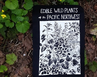 Back Patch - Edible Wild Plants of Pacific Northwest  PNW, Oregon, botany, medicinal, herbalism, herbs, nettle, ginger, cascadia, punk patch