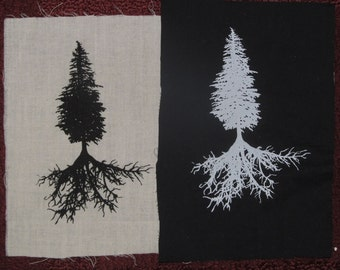 Tree Patch - Conifer & Tree Roots, choose black white green - Western Hemlock, Mountain Hemlock, forest, nature, wild forest, punk patches