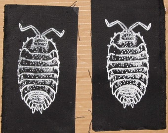 Pill Bug Patch -  White on Black - insect bug critter punk patches, roly poly. potato bug, wood louse, arthropod, animal, anarchy, science