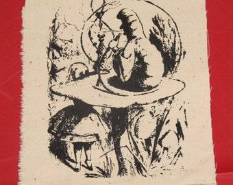 Alice in Wonderland Smoking Caterpillar Patch - Black on White Canvas