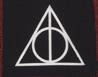Deathly Hallows Patch - White on Black Canvas - Harry Potter patches punk magic occult fantasy symbol book jk rowling hallow magical