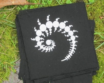 Single Julia Fractal Crop Circle Patch - Black - sacred geometry, punk patches, psychedelic magic spiral, triple julia, infinite, goa trance