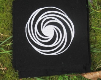 Crop Circle Patch - Geometric Spiral Patch - White on Black - Hackpen Hill 1999, sacred geometry patches, punk patches, psychedelic magic
