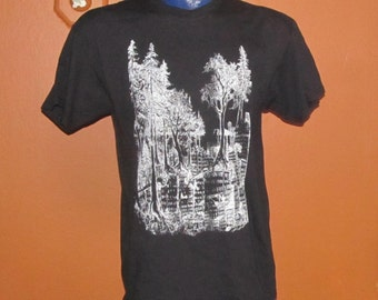 Forest Wins Shirt, Medium -  White on Black - forest nature trees tree earth first green anarchy rewild line art drawing punk tshirt metal