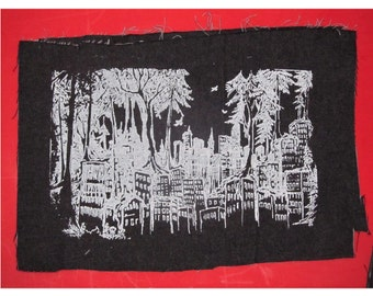 Forest Wins - Large Screenprint Canvas Back Patch, White on Black - punk patch, bag patch, anarchy patches, green anarchist, original art