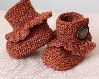 Tricoter chaussons bébé modèle (fichier pdf) première étape (tailles 0-6/6-12 mois)