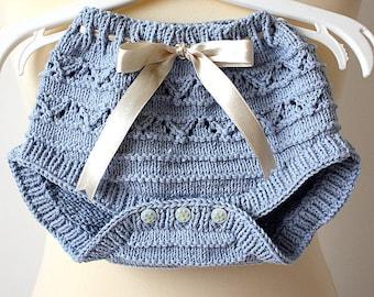 Knitting Pattern (fichier pdf) pantalon de bébé - couche-culotte cover (tailles 1/3/6 mois)