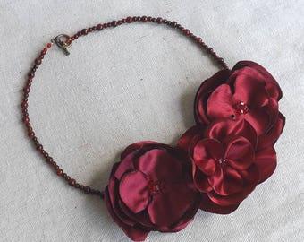 Flower Trio Necklace in Shades of Burgundy