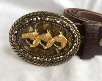 Equestrian Gifts, Leather Belts, Brass Buckle, Belts for Women, Horse Riding Accessories, Camilla Klein, Mosaic Belt Buckles, Handmade Belts