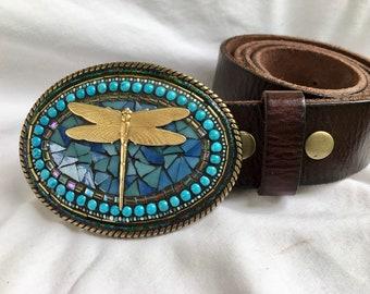 Beaded Buckle, Dragonfly, Leather Belt, Handmade, Camilla Klein, Mosaic, Embellished Buckle, Statement, for Women, Boho, Festival, OOAK