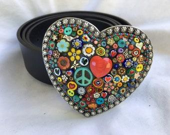 Peace Sign Belt, Boho Style Buckle, Flower Power Accessories, Women's Belts, Leather Belt Straps, Gift for Hippie, Heart shaped buckle, Love