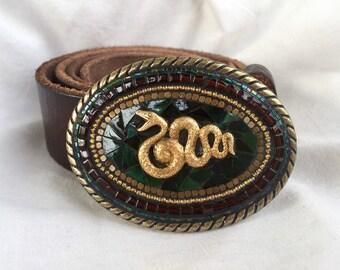 Snake accessories, Serpent, Cobra, Mosaic Belt Buckle, Handmade, Belts for Women, Camilla Klein, Green, Brass Buckle, Custom, Western Belt