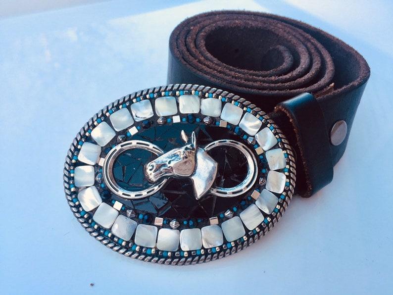16323de0c Mosaic Belt Buckle Black and Turquoise Buckle Western Belt | Etsy