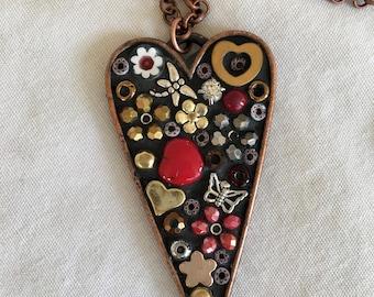 Copper, Heart, Pendant, Mosaic, Valentine Jewelry, Mixed Metal, Micro Mosaic, Locket, Camilla Klein, Girlfriend, Handmade, Unique, Red