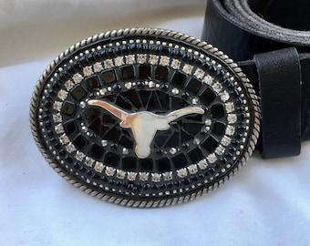 Texas Longhorn, Belt Buckle, Leather Belt, Lone Stare, Rodeo, Camilla Klein, Cowboy, Cowgirl, Western, Custom, Embellished, Handmade in USA