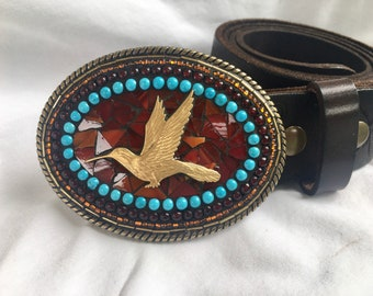 Hummingbird, Mosaic Belt Buckle, bird belt, Beaded Buckle, Camilla Klein, bird watcher, red, leather belts, for women, Western, Rodeo style
