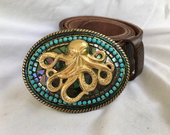 Octopus Accessories, Resort style, beach wedding, leather belts for women, Camilla Klein, Mosaic Belt Buckle, Sea life, Beach chic, handmade