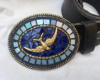 Bird Belt Buckle, Leather Belts, Unique Belts, Gift for Bird Watcher, Bird Lover, Mosaic Buckle, Custom Accessories, Stained Glass, Freedom