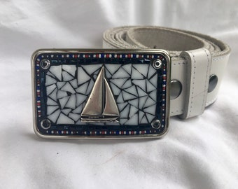 Sailboat, sailing, gift for sailor, america's cup, spinnaker, camilla klein, belt buckle, mosaic, handmade, red white and blue, regatta