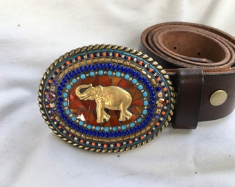 Elephant Belt Buckle, Africa, Big Five, Mosaic Buckle, Leather Belt Strap, Camilla Klein, Handmade in USA, Embellished Buckle, Brass Buckle