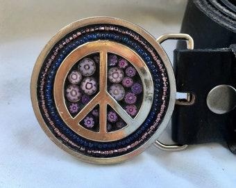 Mosaic Belt Buckle, Round Buckle, Women's Belts, Buckles for Women, Small Buckle, Peace Sign, Beaded Buckle, Boho Belt, Hippie Belt, Flower