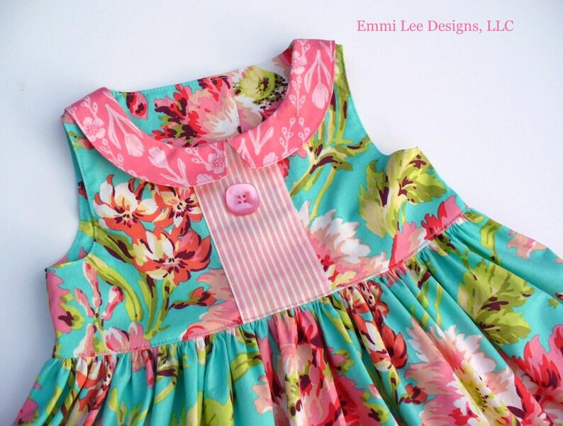 Floral Burst,Spring Dress,Easter Dress,Special Occasion,Little Girl Dress,Toddler Dress,Pink,Teal,Floral,18MO,2T,3T,4T,5T,6,7,8.10