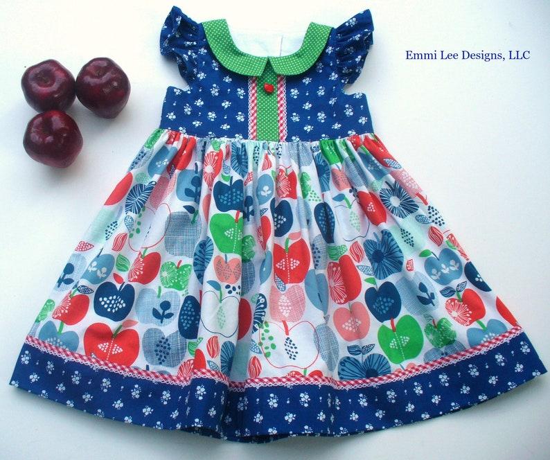 Apple Picking Back to School,Apples,Special Occasion,Little Girl Dress,Pepper Dress,Little Girl Dress,Green,Blue,18MO,2T,3T,4T,5T,6,7,8
