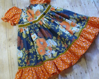 Hello Autumn Girls Dress,Special Occasion,Easter Dress,Little Girl Dress,Peasant Dress,Girls Twirl Dress,Sizes 12MO18MO,2T,3T,4T,5T,6,7,8