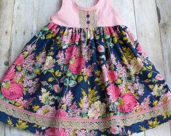 Size 4T Ready to Ship,Easter Dress,Spring Dress,Floral Dress,Girls Dress,Little GIrl Dress,Teal,Pink,Blue,Lace,Jennifer Paganelli,Floral
