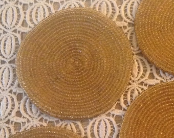 4 -Golden Beaded Silk-Lined Coasters, Vintage, Hand-Made, Set of 4