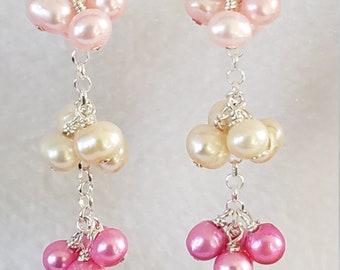 925 Freshwater Pearl and Red Howlite Gemstone Heart Drop earrings handmade