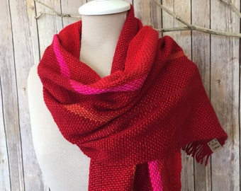 Hand woven red scarf
